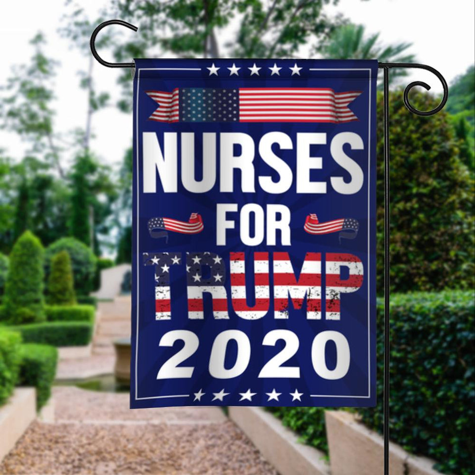 Nurses For Donald Trump 2020 Keep America Great President 45 Garden House Flags | Double Sided Decorative Yard Flag For Spring Summer Fall Winter
