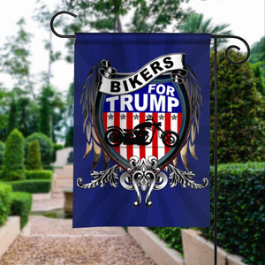 Bikers For Donald Trump 2020 Keep America Great President 45 Garden House Flags | Double Sided Decorative Yard Flag For Spring Summer Fall Winter