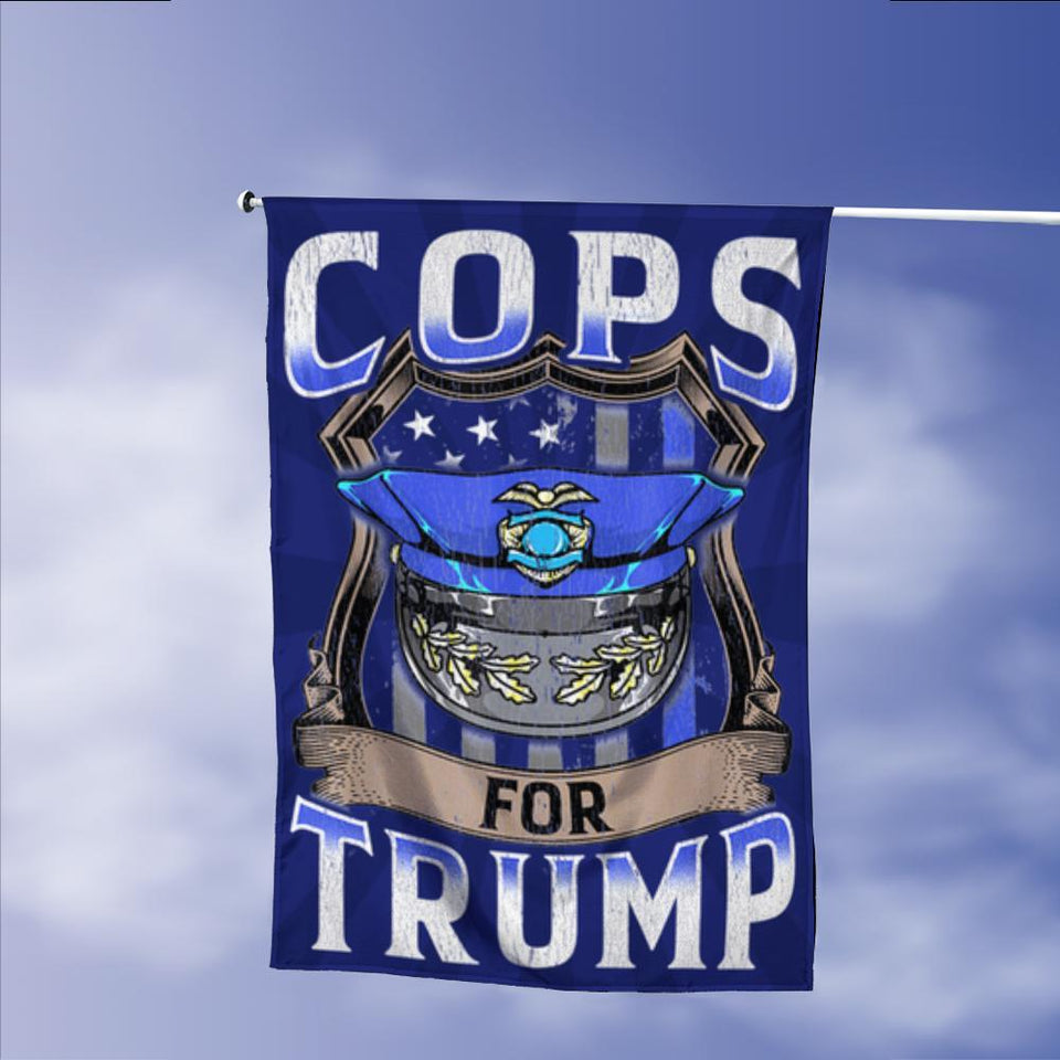 Cops For Donald Trump 2020 President 45 Vintage American Garden Flags | House Flags | Double Sided Decorative Yard Flag Without Pole For Spring Summer Fall Winter