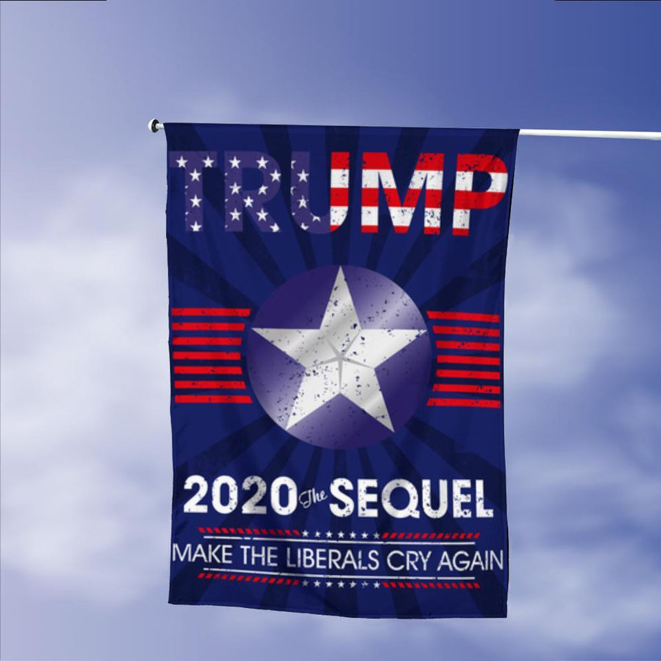Donald Trump 2020 The Sequel Make Liberals Cry Again Garden Flags | House Flags | Double Sided Decorative Yard Flag Without Pole For Spring Summer Fall Winter