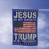 Donald Trump 2020 President 45 Jeus Savior Vintage American Garden Flags | House Flags | Double Sided Decorative Yard Flag Without Pole For Spring Summer Fall Winter