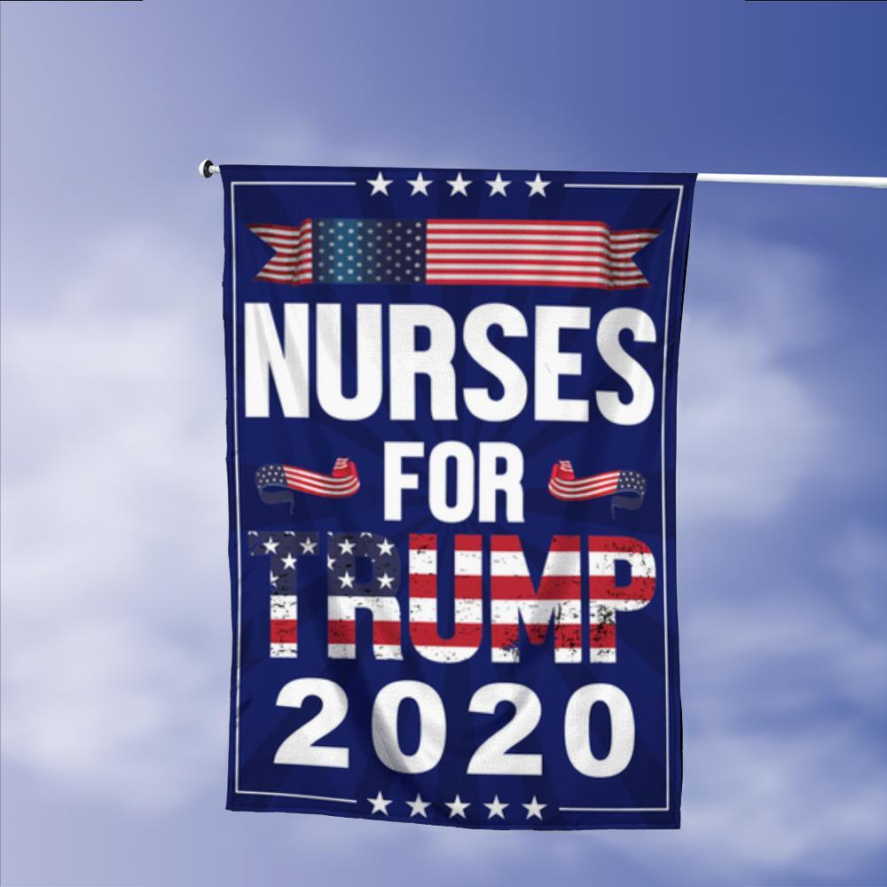 Nurses For Donald Trump 2020 Keep America Great President 45 Garden Flags | House Flags | Double Sided Decorative Yard Flag Without Pole For Spring Summer Fall Winter