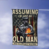 Veterans Assuming Old Man First Mistake American Garden Flags | House Flags | Double Sided Decorative Yard Flag Without Pole For Spring Summer Fall Winter