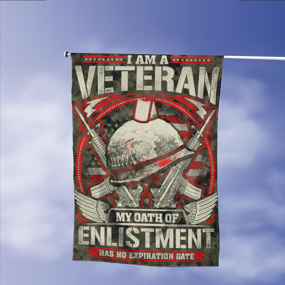 Veterans Oath Of Enlistment No Expiration Date Garden Flags | House Flags | Double Sided Decorative Yard Flag Without Pole For Spring Summer Fall Winter