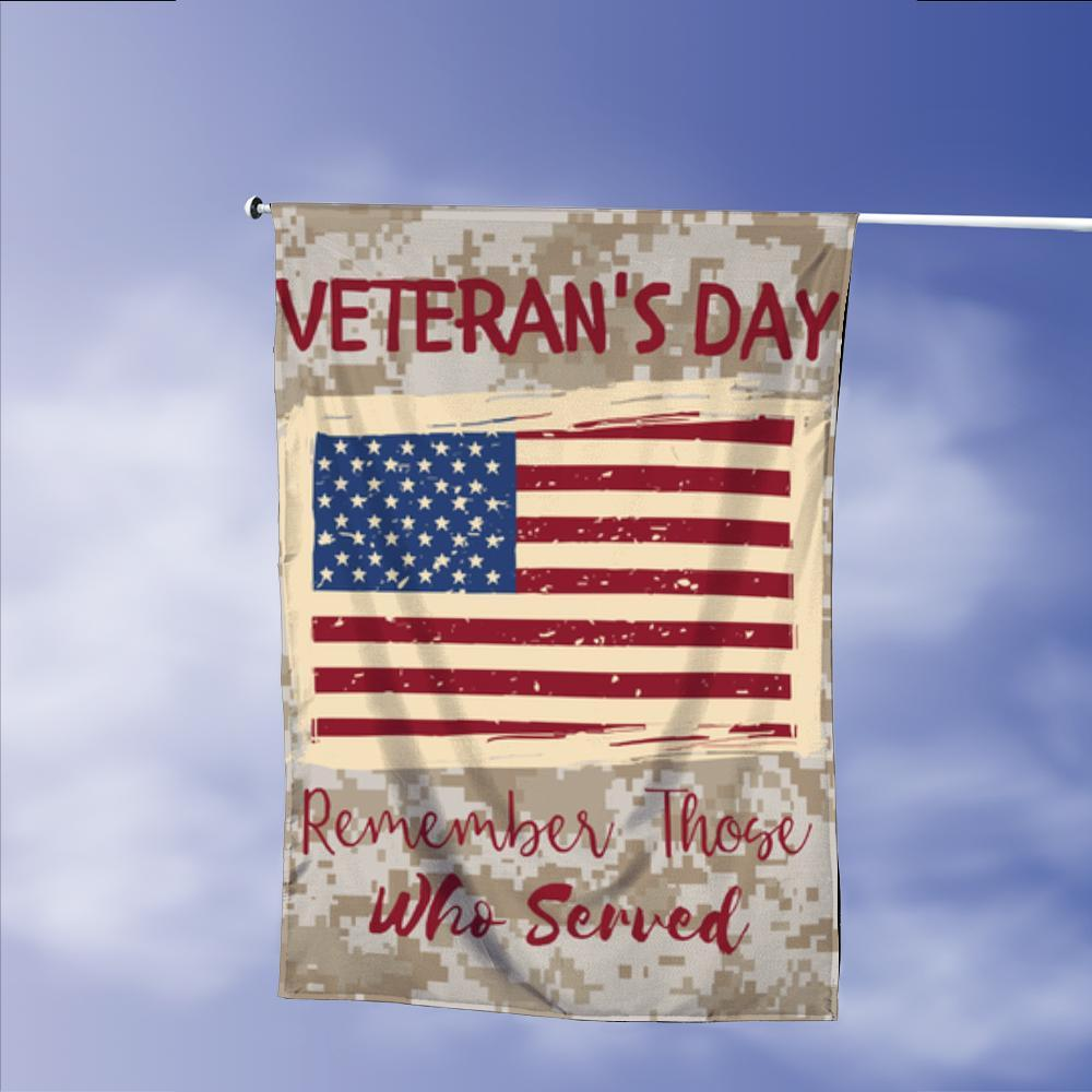 Veterans Day Remember Those Served Garden Flags | House Flags | Double Sided Decorative Yard Flag Without Pole For Spring Summer Fall Winter