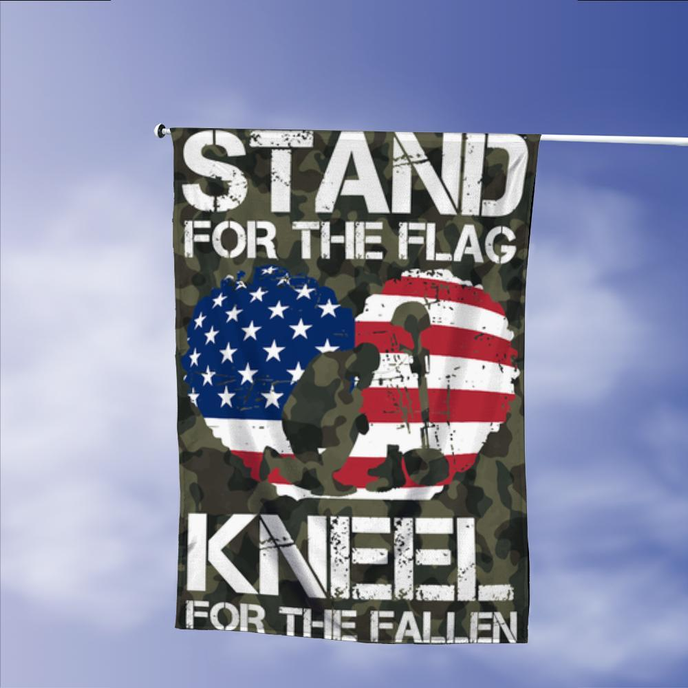 Stand For Our Flag Kneel For The Fallen Garden Flags | House Flags | Double Sided Decorative Yard Flag Without Pole For Spring Summer Fall Winter
