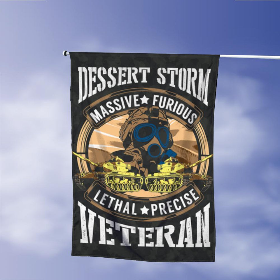 Desert Storm Veteran Massive Furious Lethal Precise Garden Flags | House Flags | Double Sided Decorative Yard Flag Without Pole For Spring Summer Fall Winter