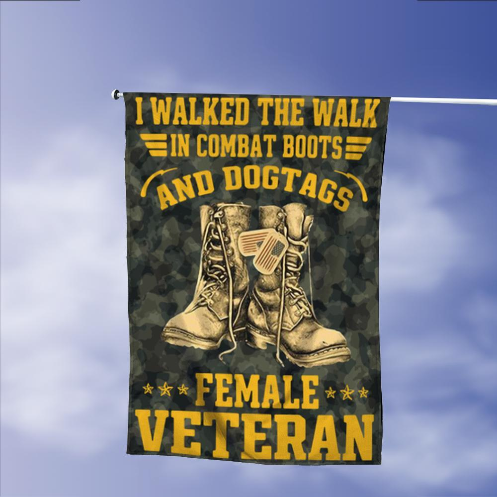 Female Veteran Walked The Walk Garden Flags | House Flags | Double Sided Decorative Yard Flag Without Pole For Spring Summer Fall Winter