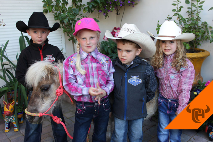 Cowboy Hardware & Cowgirl Hardware Kids Western Wear sported by four young cowboys and cowgirls