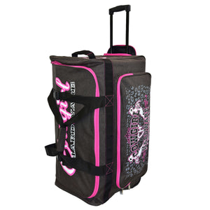 "2020 Large 30"" Gear Bag Dk Heather Brown & Pink Side View from Cowgirl Hardware"