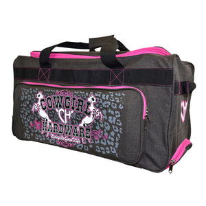 "2020 Medium 26"" Gear Bag Dk Heather Brown & Pink Front View from Cowgirl Hardware"
