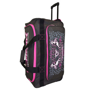 "2020 Medium 26"" Gear Bag Dk Heather Brown & Pink Side View from Cowgirl Hardware"