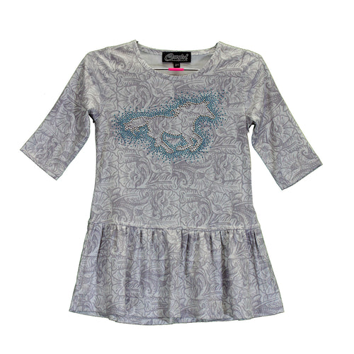 Girl's Light Grey Tule Design Horse Dress from Cowgirl Hardware
