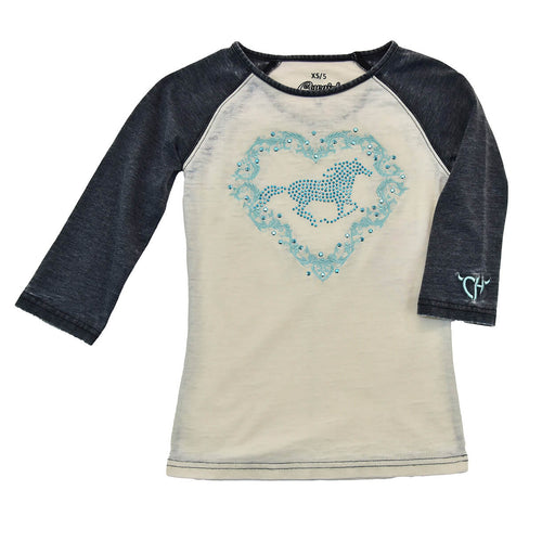 Girl's Crystal Heart Horse White with Black Acid Wash Sleeve Raglan Tee from Cowgirl Hardware