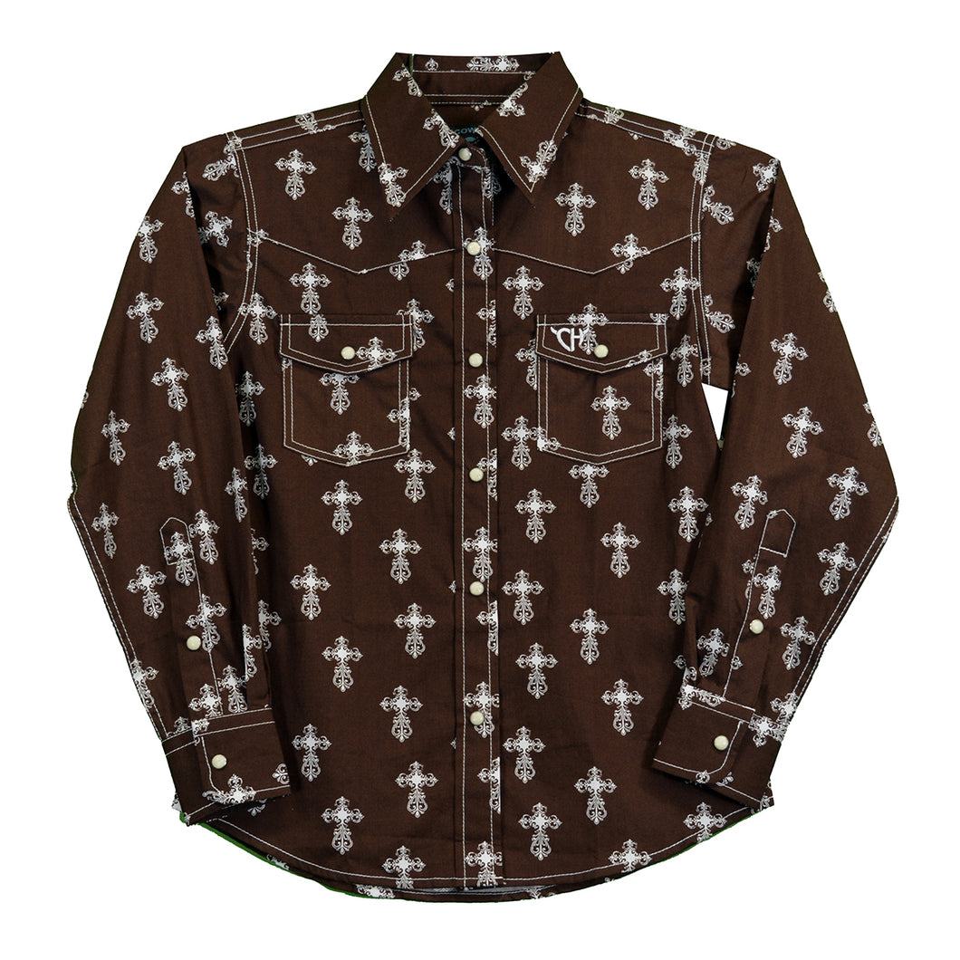 Girl's Cowgirl Hardware Mini All Over Steel Cross Brown and White Western Shirt