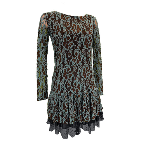 Girl's Turquoise & Brown Lace Long Sleeve Dress from Cowgirl Hardware