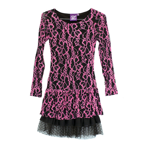 Girls Youth Pink Floral Lace Long Sleeve Dress from Cowgirl Hardware