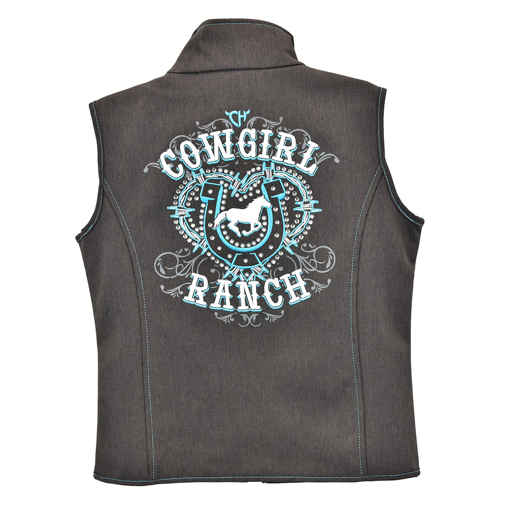 Infant/Toddler Girl's Cowgirl Ranch Heather Dark Chocolate Poly Shell Vest from Cowgirl Hardware