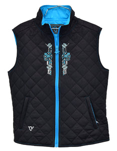 Infant/Toddler Girl's Floral Horse Black Quilted Vest from Cowgirl Hardware
