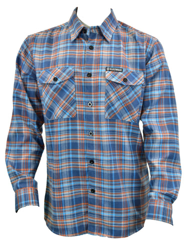 Men's Lumberjack Flannel Orange/Blue Long Sleeve Western Shirt w/buttons from Cowboy Hardware