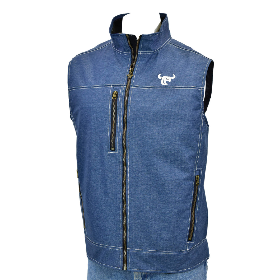 Men's Tech Heather Navy Woodsman Vest from Cowboy Hardware
