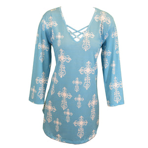 Women's all over steel cross 3/4 sleeve turquoise and white tunic from Cowgirl Hardware