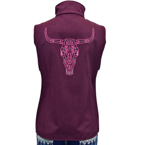 Womens Engraved Skull Heather Pinot Poly Shell Vest Back from Cowgirl Hardware