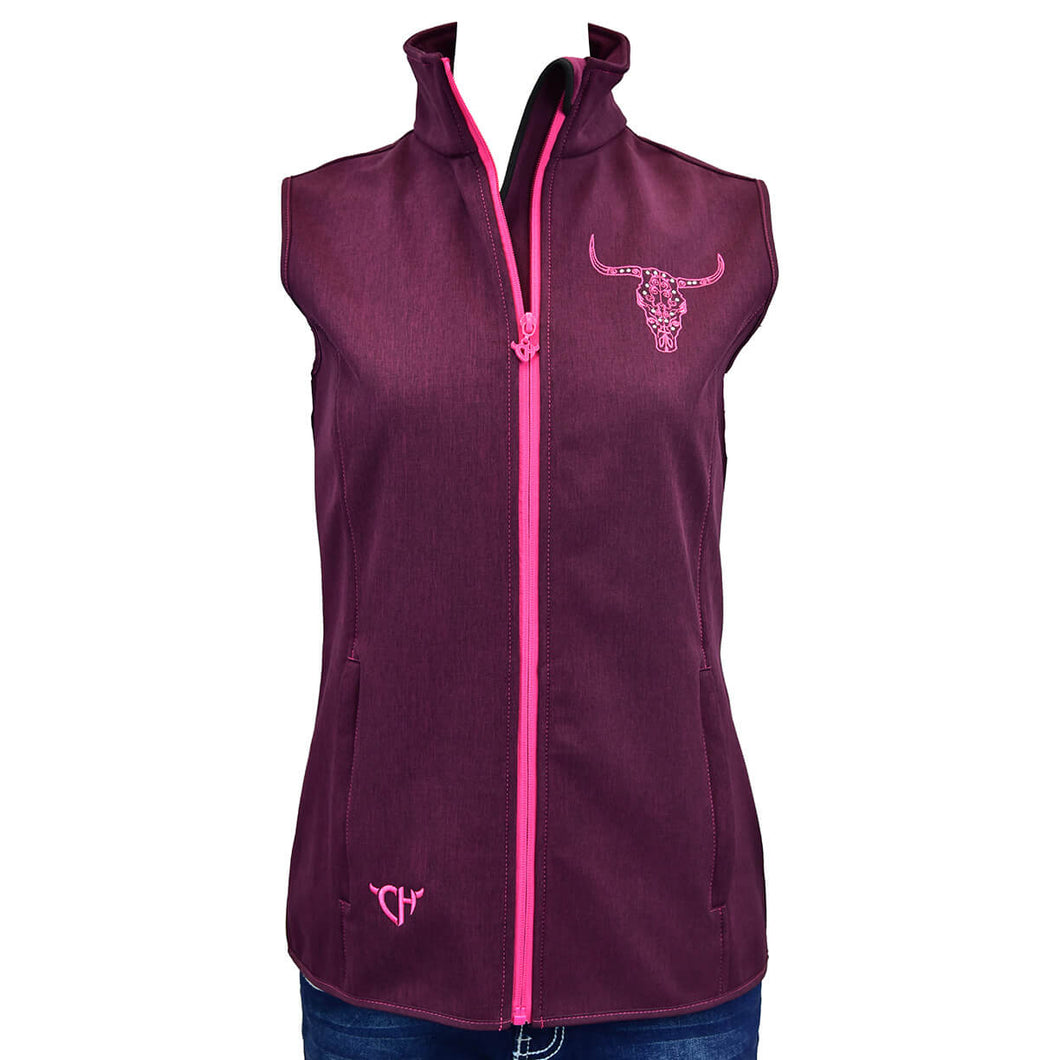 Womens Engraved Skull Heather Pinot Poly Shell Vest from Cowgirl Hardware