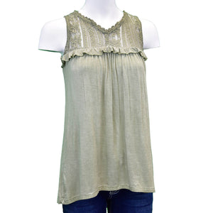 Womens Lace Ruffle Light Green Tank from Cowgirl Hardware