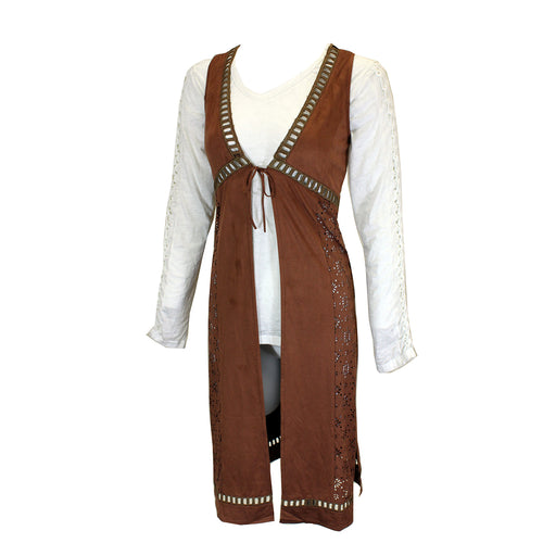 Womens Mocha Die Cut Faux Suede Long Vest Self Tie from Cowgirl Hardware