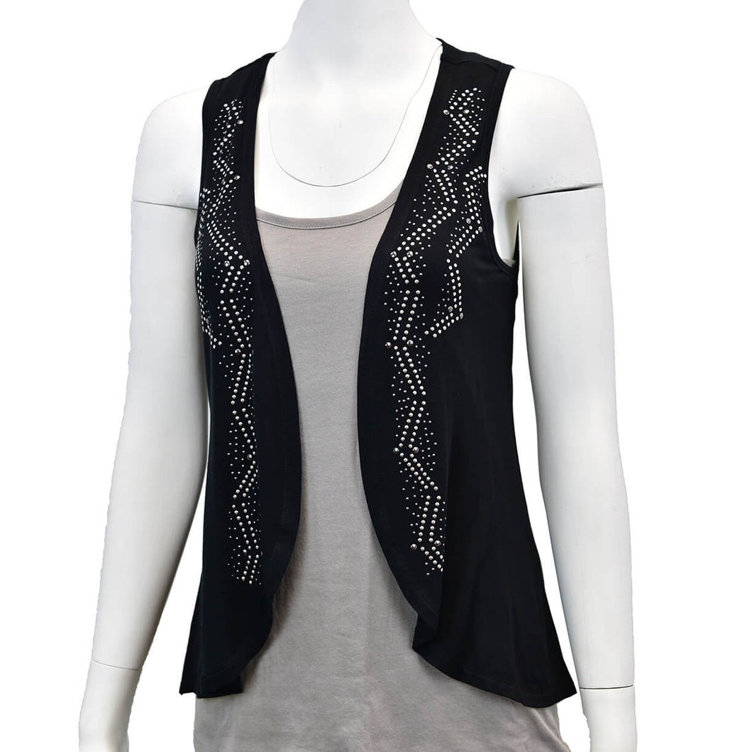 Womens Nailhead Black Flowy Vest from Cowgirl Hardware