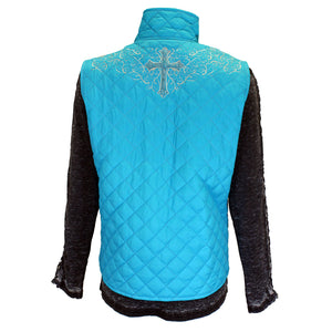 Women Turquoise Simple Cross Quilted Vest from Cowgirl Hardware back