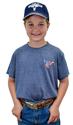 Boy's Cowboy Hardware Logo Premium Heather Navy Short Sleeve Tee