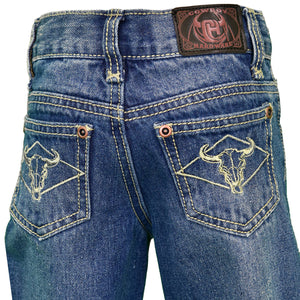 Boy's Diamond Skull Embroidered Medium Wash Jean from Cowboy Hardware