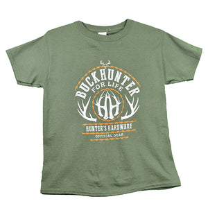 Boy's Hunter's Hardware Buck Hunter for Life Short Sleeve Military Green Tee from Cowboy Hardware