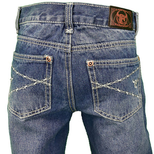 Boy's Logo Barbwire Embroidered Medium Wash Jean from Cowboy Hardware