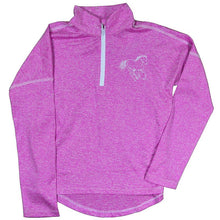 Girl's 1/4 Zip Heather Pink Sport Knit from Cowgirl Hardware (close-up)