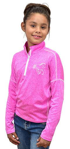 Girl's 1/4 Zip Heather Pink Sport Knit from Cowgirl Hardware