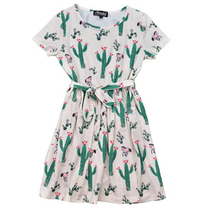 Girl's Mixed Cacti w/ Horses Off White Short Sleeve Dress from Cowgirl Hardware
