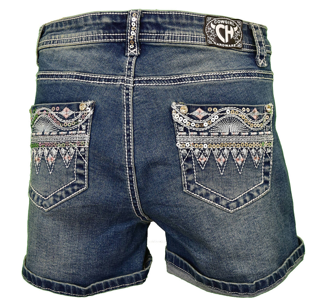Girl's Sequin Pocket w/ White Medium Wash Jean Shorts from Cowgirl Hardware