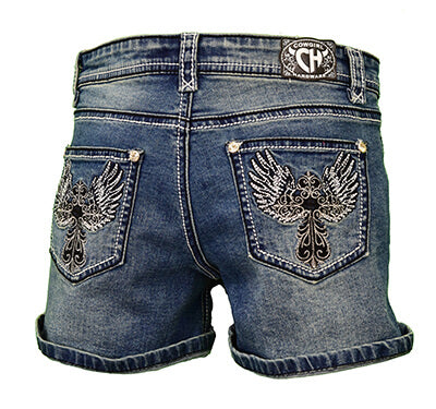 Girl's Steel Wing Cross Medium Wash Jean Shorts from Cowgirl Hardware