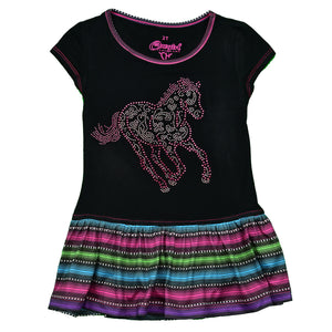 Girl's Sugar Horse Serape Black Short Sleeve Dress from Cowgirl Hardware