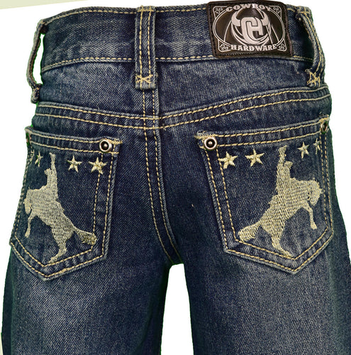 Infant/Toddler Boy's Star Bronc Embroidered Dark Wash Jean from Cowboy Hardware