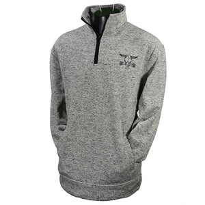 Men's Barbed Skull Speckle Fleece Grey Cadet from Cowboy Hardware (close-up)