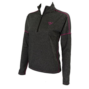 Women's 1/4 Zip Heather Black Sports Knit from Cowgirl Hardware (close up)