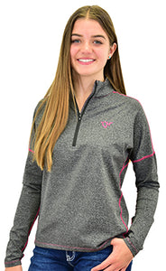 Women's 1/4 Zip Heather Black Sports Knit from Cowgirl Hardware