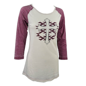 Women's Aztec Cross 3/4 Sleeve Maroon Raglan from Cowgirl Hardware