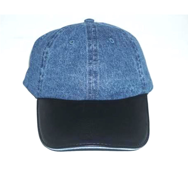 DENIM & FAUX LEATHER DAD HAT
