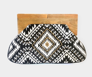 Wooden Snap Clutch - Harlequin