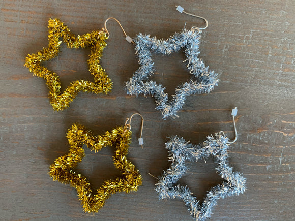 Tinsel Star Earrings